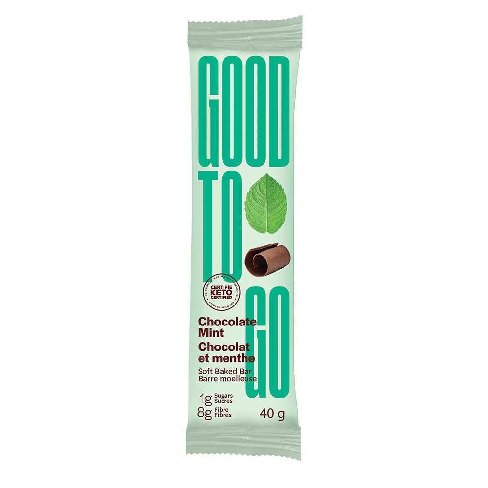 : Good To Go Keto Snack Bars, Chocolate Mint, 9 Bar Pack