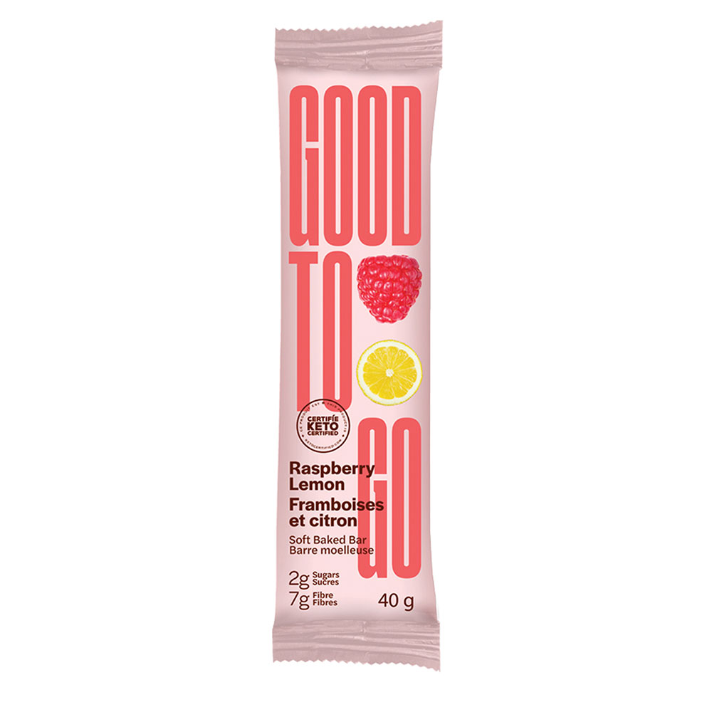 : Good To Go Keto Snack Bars, Raspberry Lemon, 9 Bar Pack